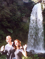 Here are two of my fellow horse trekkers with our own private waterfall, only seen by people on this horse tour.