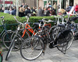 Locals and visitors love to ride their bicycles to the local eateries.