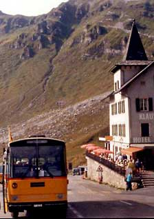 Swiss bus at Klausen Pass.