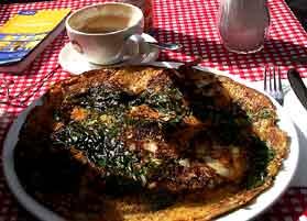 Special dinner omelet in Amsterdam.