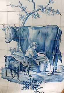My favorite Portuguese tile painting of milking a cow.