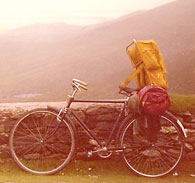 Here I am with my rented bicycle on the misty west Ireland coast. Notice that I just strapped on my pack and rode off. No problem.