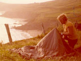 I camped out in the fields of western Ireland overlooking the sea cliffs.