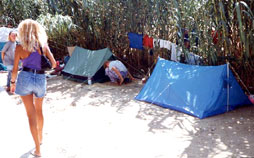 Here is my camping place on a Mediterranean Beach.