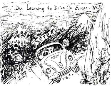 My Brother Phil's drawing of me learning to drive in Germany when I was 19 years old.
