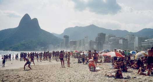 Ipanema Beach sports a double Sugar Loaf like mountain to the  southwest.