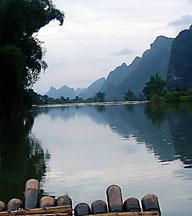 Rafting down the Dragon River near Yangshou, China.