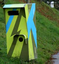A dazzle-camouflage painted speed camera in Loipersdorf,Austria.